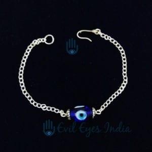 Genuine Evil Eye Bead Bracelet in Silver colored Chain