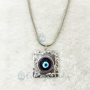 Square Shape Evil Eye Pendant