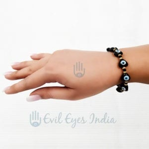 Cute Black Heart Evil Eye Bracelet