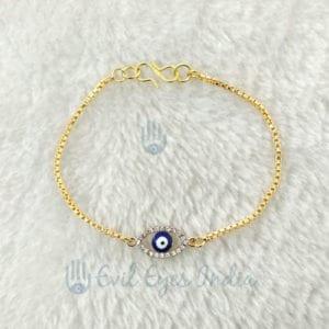 Gold Plated Evil Eye Bead Crystals Bracelet