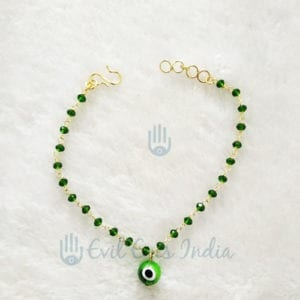 Evil Eye Anklet Green Heart Beads
