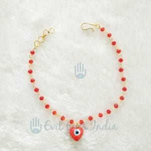 Evil Eye Anklet Red Heart Beads