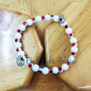 Delicate Evil Eye Bracelet (Red & White)