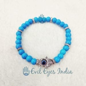 Turquoise Beads Hamsa Hand Bracelet