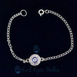 Evil Eye Silver Colored Chain Bracelet