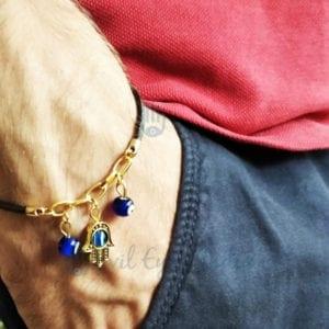 Cute Leather Evil Eye Bracelet With Hamsa Hand