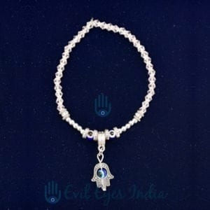 Delicate Evil Eye Bracelet With Hamsa hand Drop