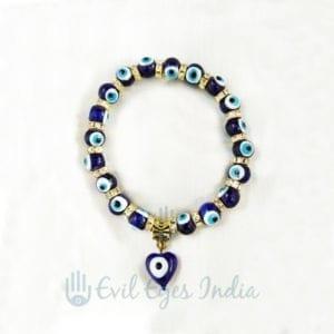 Evil Eye bracelet With Heart Bead