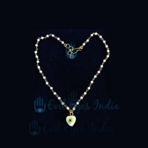 Evil Eye Anklet Heart Bead – White