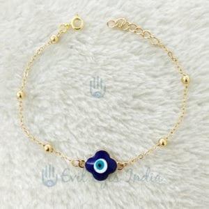 Flower Petal Shaped Evil Eye Delicate Bracelet