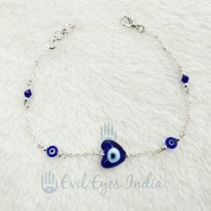 Blue Heart Bead Evil Eye Anklet With Silver Chain
