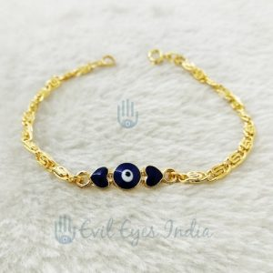 Gold Plated Evil Eye Bracelet With 2 Hearts