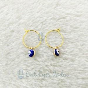 Blue Evil Eye Drop Earring