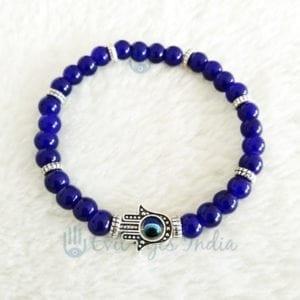 Evil Eye Blue Beads Hamsa Hand Bracelet