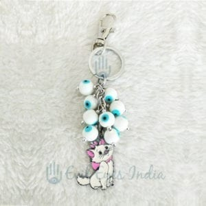 Evil Eye White Beads Key Chain