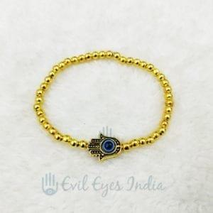 Golden Beads With Hamsa Hand Bracelet