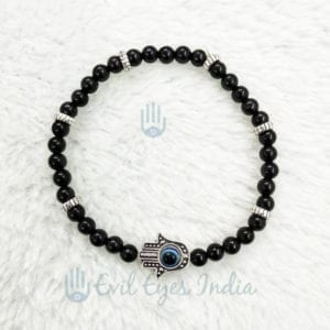 Black Beads Hamsa Hand Bracelet With Evil Eye