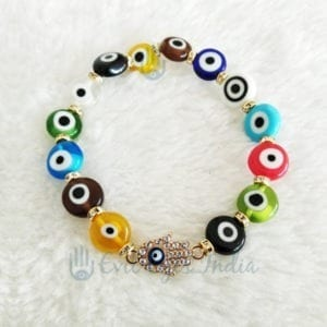 Multi-Colored Evil Eye Bracelet With Hamsa Hand