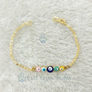 Multi- Colored Evil Eye Bracelet In Gold Plated Chain