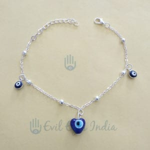 Evil Eye Anklet Blue Heart Bead