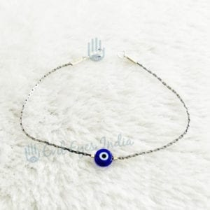 Authentic Blue Bead Evil Eye Bracelet With Cute Silver Colored Chain