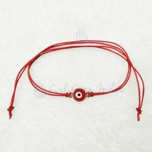 Deep Red Evil Eye Bracelet For Protection And Good Luck