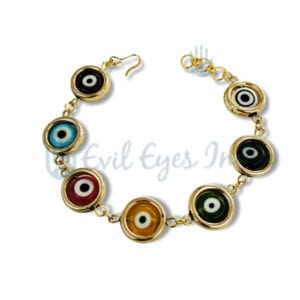 Evil Eye Bracelet with Authentic Color Beads in Rings
