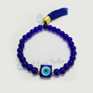Blue Evil Eye Square Bead With Tassel Bracelet