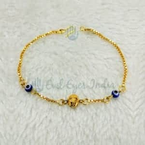 24 Karat Gold Plated Buddha & Chain With Authentic Evil Eye Beads