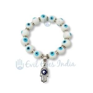 White Evil Eye Beads Bracelet With Hamsa Hand