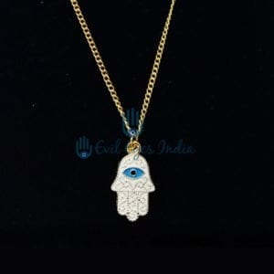 Hamsa Hand Pendant With Golden Chain
