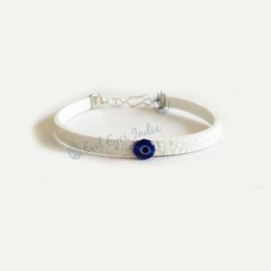 Pearl White Tiny Evil Eye Leather Bracelet